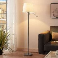 Benjiro – golvlampa i textil med LED-läslampa