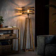 Golvlampa Crossround av trä och metall