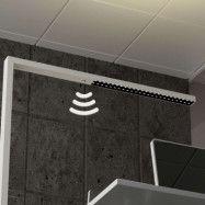 Vit LED-golvlampa Jolinda med dagsljussensor