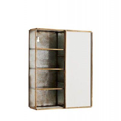 Madam Stoltz Vägghylla med spegel 21x6x26 cm - Mässing