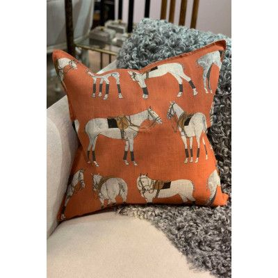 Kuddfodral Polo Ponies 50x50 Orange