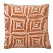 Kulgam Kuddfodral hand embroidered Velvet Orange/Vit 50x50cm