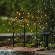LED-solcellslampa Firework i set med markspett