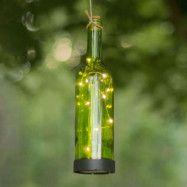 LED-solcellslampa Bottle, grön