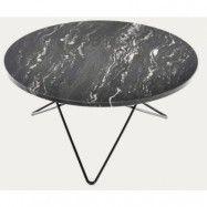 OX DENMARQ Big O table matbord - Black Marquina/black steel