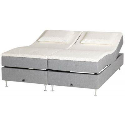 Curem dubbel ställbar säng – 180x210, ask/ljusgrå, medel