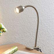 Lindby Djamila LED-klämlampa, satinerad nickel