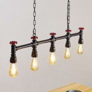 Lindby Zlata hänglampa, 5 lampor, industristil