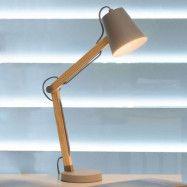 Träskrivbordslampa Tony, mullvadsgrått