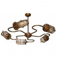 Mullan Lighting Breck bar takkrona – Antique brass, frosted glass