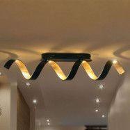 LED-taklampa Helix i svart guld