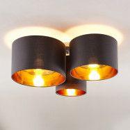 Lindby Laurenz taklampa, 3 lampor, grå-guld