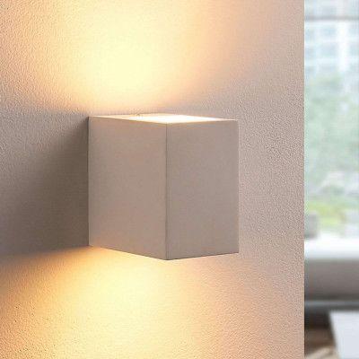 Vit LED-vägglampa Jannes av gips